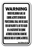 Home Decor Oklahoma Equine ACHTUNG Statut Horse Farm Metall Schild für Outdoor Yard Sicherheit Schild Aluminium Schilder
