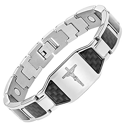 Willis Judd Mens Christian Jesus Crucifix Cross Black Carbon Fiber Titanium Magnetic Bracelet with Free Link Removal Tool and Gift Box