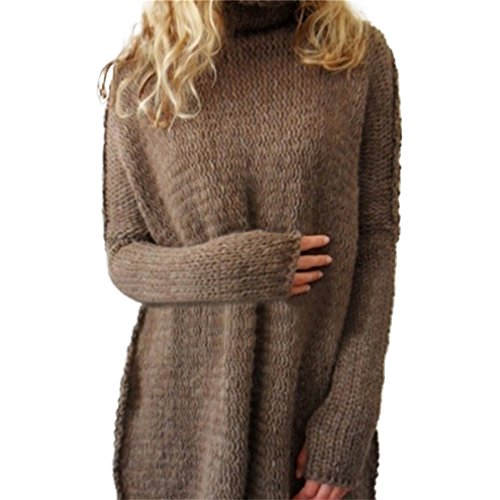 Honghu Femme Casual Loose Manches Longues Collier de Lapel Pulls Loisirs Long Sweater Marron