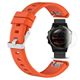 Garmin Fenix 5 Cinturino con protezione dello schermo, TUSITA braccialetto in silicone WristBand per Garmin Forerunner 935 / Approach S60 / Quatix 5 / Quatix 5 Sapphire (ARANCIA)
