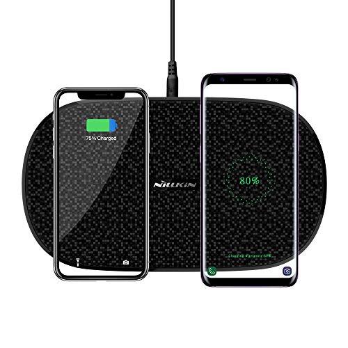 Doppio Caricatore Wireless Rapido, Nillkin Dual Fast Wireless Charger Station Supporto per doppio caricatore wireless 5W / 7.5W / 10W con adattatore per iPhone X, iPhone 8/8 Plus, Samsung Galaxy S9/ S9 Plus/ S8/ S8 Plus, Note 8, S7 Edge/ S7 e tutti i dispositivi Qi