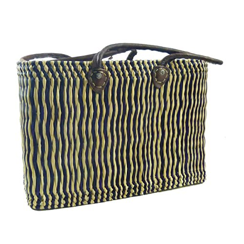 Seegras Tasche Korb Einkaufstasche Einkaufskorb Flechtkorb Korbtasche Palmgras langer Griff klein Color Blau (Marokkanische Leder-taschen)