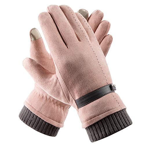 Acdyion Handschuhe Winter Damen Touchscreen Wildleder super weiche Handschuhe Outdoor Fahrradhandschuhe dickes Fleecefutter Wildlederhandschuhe (Rosa)