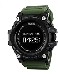 SKMEI 1188 Bluetooth Digital Smart Watch With Health Fitness and Sport Activity Tracker, Heart Rate Sensor Monitor Compatible with IOS, Android, Apple iphone 7, 3G, 4G Smart Phones, All Mobiles, Colour Army Green