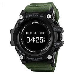 SKMEI Bluetooth Digital Smart Watch With Health Fitness and Sport Activity Tracker, Heart Rate Sensor Monitor Compatible with IOS, Android, Apple iphone 7, 3G, 4G Smart Phones, All Mobiles, Colour Army Green