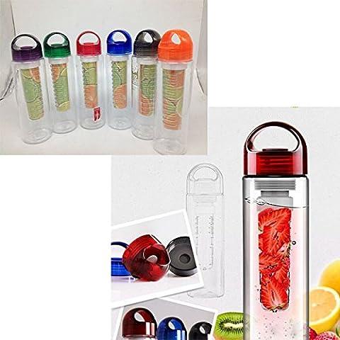 Junsi colore arancione 500-800 ml tappo Tritan BPA salute succo di frutta della bottiglia di acqua di sport infusore - Arancione Tappo Di Bottiglia