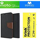 GOELECTRO Motorola Moto G5s Plus Goospery Mercury FLIP COVER (Combo Offer) Magnetic Lock Fancy Diary Wallet Case Back Cover For Moto G5s Plus With Premium Trink Impossible Flexible Tempered Glass For Motorola Moto G5s Plus (Brown)