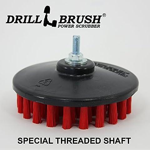 Stiff Rouge 12,7cm filetée professionnel et Contractor Scrub Brosse électrique compatible avec et Air pneumatique double action rotatif polissoirs et Da Machines