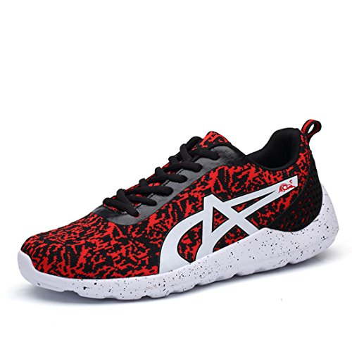 Men's Gray Low Top Breathable Running Shoes red