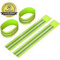 Riflettente caviglia fasce (4fasce/2paia) | Alta visibilità e sicurezza per jogging/ciclismo/Walking etc | funziona come braccialetti, bracciale, cosciali | accessori per sport/running Gear, Neon Green