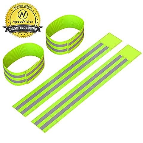 Bandes réfléchissantes pour chevilles (4 Bandes/2 Paires)   Haute visibilité et sécurité pour le jogging/le cyclisme/la marche/etc.   Peuvent également être utilisées comme bandeau, bracelet, bandeau de jambe   Accessoires de sport/équipement de running