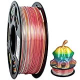 GEEETECH PLA filament 1.75mm Multicolor, 3d Printer Filament PLA 1KG Spool, Silky Rainbow color