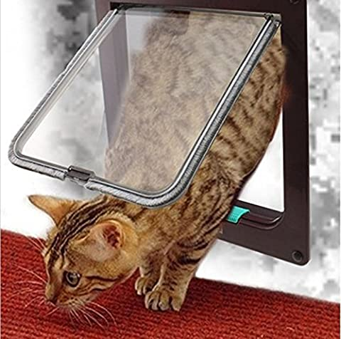 Vinmax Brown Large 4 Way Pet Cat Kitten Dog Supply Lock Lockable Safe Flap Door