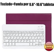 Teclado Bluetooth Español QWERTY Funda ,CoastaCloud Funda Case del Teclado Inalámbrico Magnético Para Cualquier Windows / Android /Apple IOS con 9-10.5 Pulgadas(Tamaño de la tableta adecuada:Min 15x24cm Max 18x26cm) Púrpura