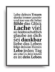 Moderner Vintage Poster Druck LEBE DEINEN TRAUM Fine Art Kunstdruck Deko Bild Print Plakat DIN A4 Geschenk