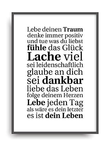 Moderner Vintage Poster Druck LEBE DEINEN TRAUM Fine Art Kunstdruck Deko Bild Print Plakat DIN A4