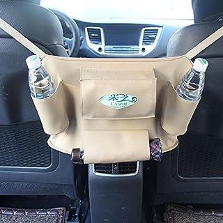 AOLVO Auto Rückenlehne Aufbewahrungstasche Organizer Travel Box Tasche PU-Leder Universal verstauen Ordnung Displayschutzfolie Kids Drink Auto Accessoires beige