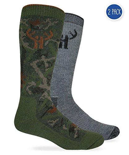 Huntworth 2Stück Herren 's Wolle Blend Camo Combo Boot Socke Größe L Camo Green/Black Combo Winter Liner