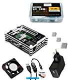 #5: Quad Store - 5in1 Raspberry Pi 3 Case for model B with Cooling Fan, Heatsinks, 5V/2.5A Power Supply adapter, Micro USB with On/Off button