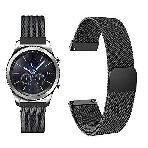 Fullmosa Milanese Uhrenarmband 22mm für Samsung Gear S3 Classic/Frontier/Galaxy 46mm,Edelstah Armband 22mm Schwarz