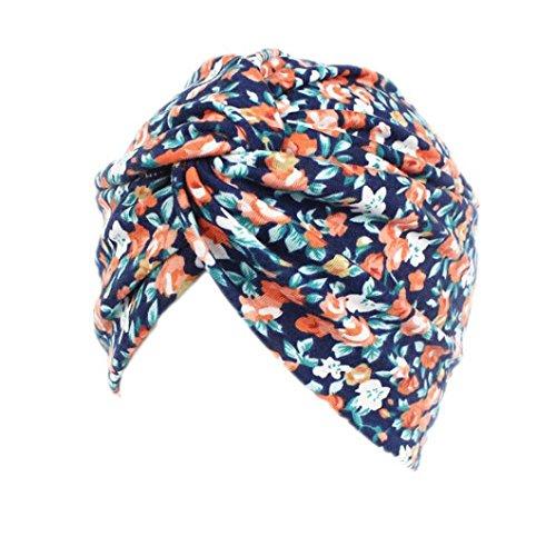 Ouneed Turban Chimio Femme Bonnet Musulmanes Coton Wrap Hijib Cap a Motifs (C)