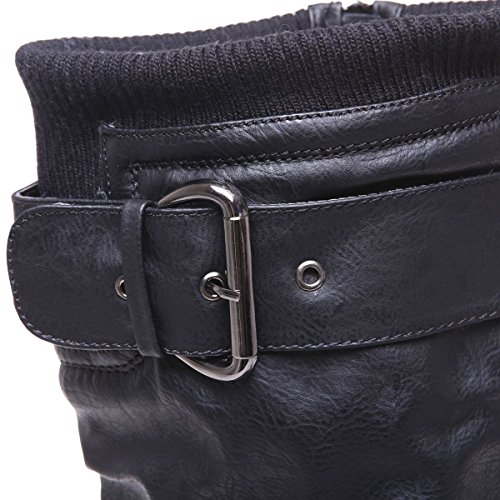 La Modeuse - Bottes en simili cuir à bout rond et talon carré Noir