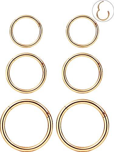 6 Stück 16 Gauge Edelstahl Nasenring Hoop Nahtlos Clicker Ring Ohr Lippen Piercing Schmuck, 3 Größen (Rosa Gold) Piercing Schmuck Gold