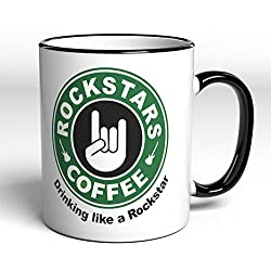 'Taza con texto/inscripción Rock Stars Coffee ""