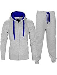 ecf70015 XPACCESSORIES Malaika Mens Long Sleeve Contrast Zip Up Hooded Fleece Gym  Sports Joggers Full Tracksuit Basketball Top Tracky Bottom…