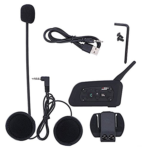 Motorcycle Interphone Fodsports BT Bluetooth Helmet Intercom Coummunication  System, Up to 6 Riders, 1200M,Waterproof, Ideal for Riding/Skiing