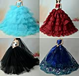 Stillshine BC-52 Schöne und modische handgefertigte elegante schöne Hochzeit Abend-Partei-Kleid für Barbie Puppe(Puppen nicht im Lieferumfang enthalten) (5er Set)