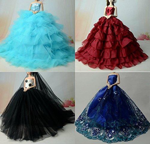 dische handgefertigte elegante schöne Hochzeit Abend-Partei-Kleid für Barbie Puppe(Puppen nicht im Lieferumfang enthalten) (5er Set) (Tinkerbell Kostüm Hund)