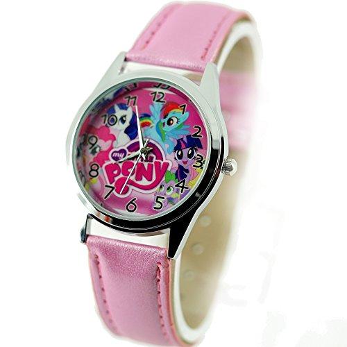 TAPORT® Damen Uhr Analog Quarzwerk mit Leder armband Disney My Little Pony E2 Rosa Rund (My Watch Little Pony)