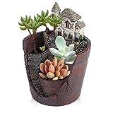 Descripción: Esta creativa maceta con exquisita casa se puede aplicar en el mini jardín, la casa de muñecas, la decoración de plantas, agrega más color y diversión a tu vida. Está hecho de material de resina de alta calidad, respetuoso con el...