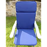 UK-Gardens Navy Blue Garden Furniture Large Seat And Back Full Folding Recliner Arm Chair Cushion - Removable cover - Double Piped - Indoor or Outdoor