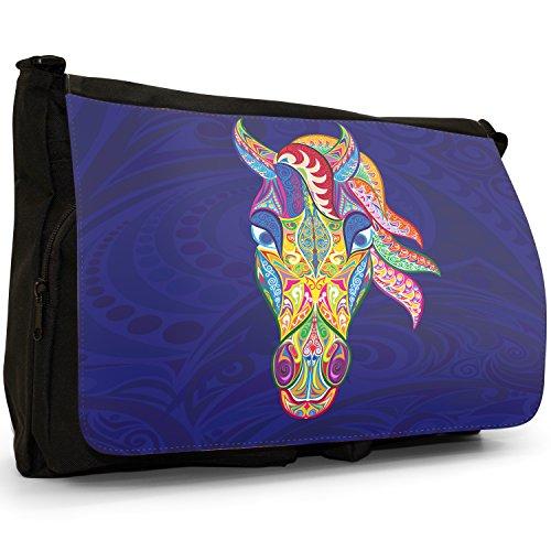 Indiana tradizionale Mehndi Swirl animali grande borsa a tracolla Messenger Tela Nera, scuola/Borsa Per Laptop Horse Ornate Tradition Indian