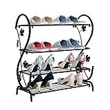Schuhregal- Schuhregal Einfaches mehrschichtiges einfaches modernes Schmiedeeisen-Schlafsaal-Schuhregal Speicherzahnstange passend für Korridor-Eingang (Farbe : SCHWARZ)