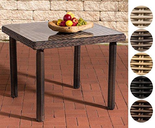 CLP Polyrattan-Gartentisch Puerto RICO mit Einer Tischplatte aus Glas I Wetterbeständiger Tisch aus Polyrattan I Größen erhältlich