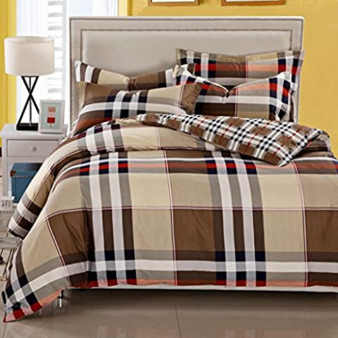 HBY Duvet Cover & Pillowcase 4 Pieces Set Bedding Digital Print Quilt Case Single Double King Bedding Bedroom Daybed (Double) 1.8m bed