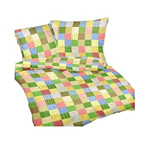 carpe sonno seersucker bettw sche patchwork 155x220 cm gr n kariert bettdecke und kopfkissen. Black Bedroom Furniture Sets. Home Design Ideas