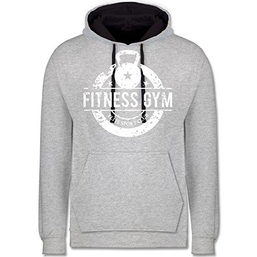 CrossFit & Workout - Fitness Gym Elite Sport Club - Kontrast Hoodie Grau meliert/Dunkelblau