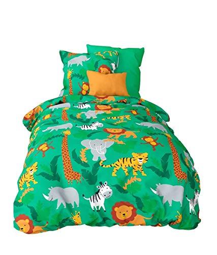 Aminata Kids Fein-Biber Kinder-Bettwäsche 100-x-135 cm Zoo-Tier-e Safari Waldtier-e Dschungel Baby-Bettwäsche 100-% Baumwolle Renforce grün Mädchen und Junge-n bunt Elefant-en Giraffe-n