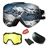WLZP Maschera da sci,Occhiali da Sci Intercambiabili Magnetici con 2 Lenti Modellanti,Protezione Anti-appannamento UV400 Occhiali da Snowboard Invernali con Occhiali da Snowboard,Intercambiabili Lenti