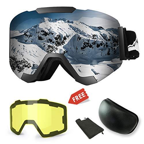 Maschera da sci,Occhiali da Sci Intercambiabili Magnetici con 2 Lenti Modellanti,Protezione Anti-appannamento UV400 Occhiali da Snowboard Invernali con Occhiali da Snowboard,Intercambiabili Lenti