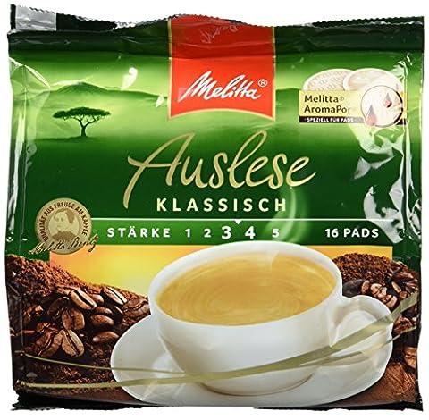 Melitta Gemahlener Röstkaffee in Kaffeepads, 10 x 16 Pads, vollmundig und temperamentvoll, mittlerer Röstgrad, Stärke 3 bis 4, Auslese Klassisch