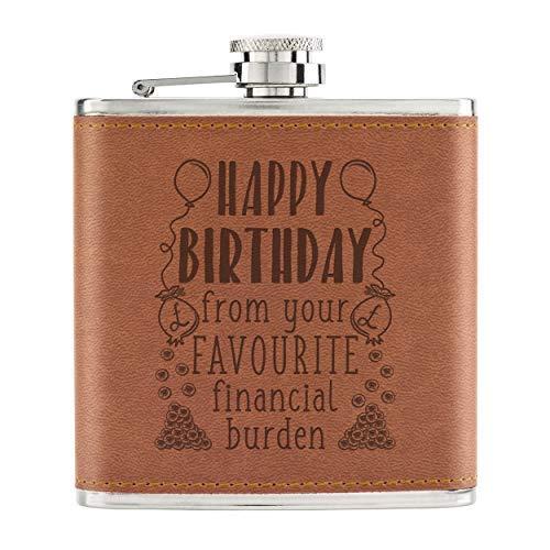 Happy Birthday From Your Bevorzugte Financial Belastung 6oz Pu-Leder Flachmann Hellbraun