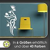 Storch Ranke Blüte Wandtattoo in 6 Größen - Wandaufkleber Wall Sticker