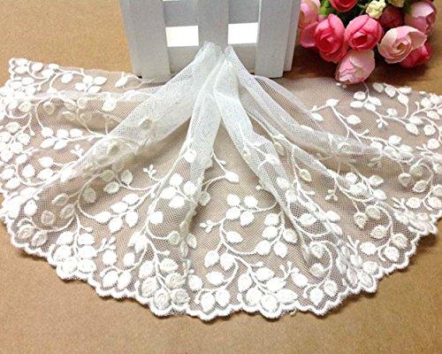 Ivory Elfenbein 15,2cm breit Anhänger Blumen Bestickter Mesh Spitze Trim Stoff Lace Ribbon Craft Spitze von 3Meter -