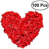 WINOMO 100Pcs Silk Fabric Red Rose Petals Blossom Rose Flowers for Home Party Ceremony Wedding DIY Decoration (Red)