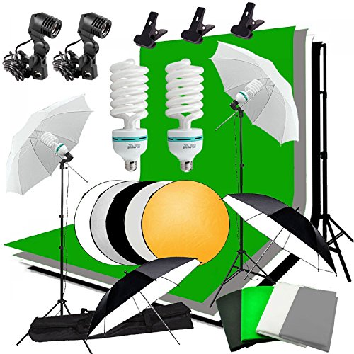 MDFGHJD Fotografie Continuous Softbox Kit Hintergrund Kit 2X135w Photo Bulb 2X Lichtstativ 60Cm 5 in 1 Reflektor Panel -